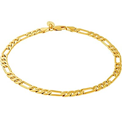 Lifetime Jewelry Ankle Bracelets for Women Men & Teen Girls [ 5mm Gold Figaro Chain Anklet ] 20X More Real 24k Plating Than Other Foot Jewelry - Lifetime Replacement Guarantee (9.0)