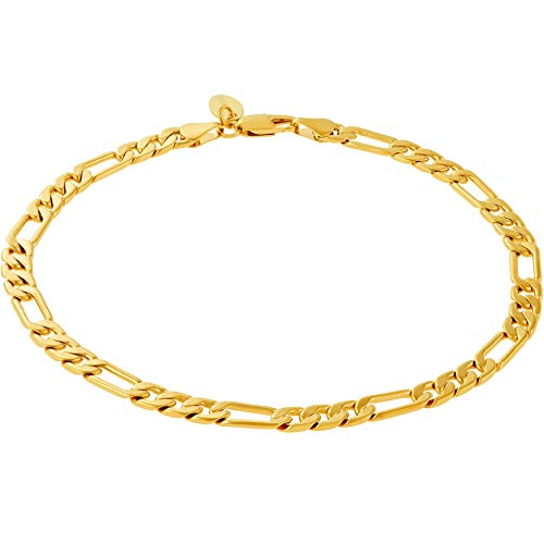 Lifetime Jewelry 5mm Figaro Chain Anklet for Women and Men 24k Real Gold Plated (9.0)