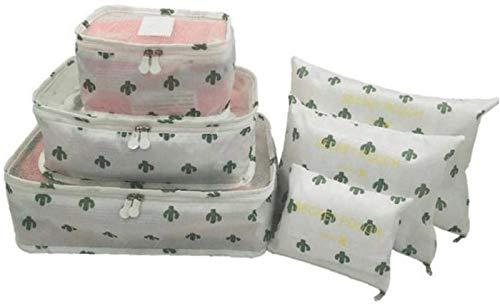 ZHANG Six-Piece Set Portable Nylon Travel Storage Bag Clothes Packing Cube Luggage Organizer Set,C