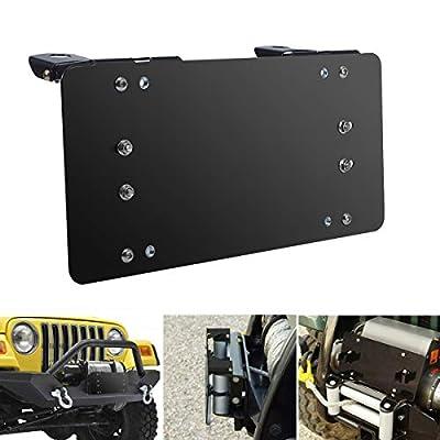 Samlight License Plate Bracket 8 3/4 Inch Flip-Up Winch Roller Fairlead Mount Holder Black Stainless Steel