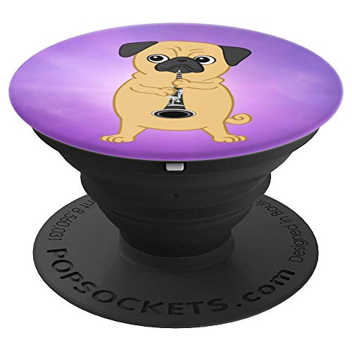 Purple Pug dog Playing The Clarinet PopSockets Grip and Stand for Phones and Tablets
