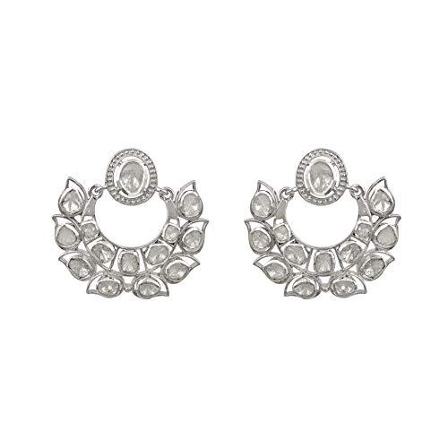 1.80 CTW diamante natural sin cortar polki elegante colección de aretes de chand bali - plata de ley 925 chapada en platino