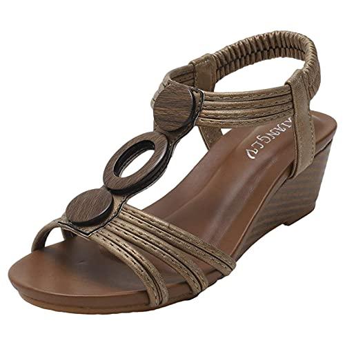 rismart Sandalias de Cuña Mujeres Señoras Cómodas Barra en T Vestido Verano Zapatos Bronce,36