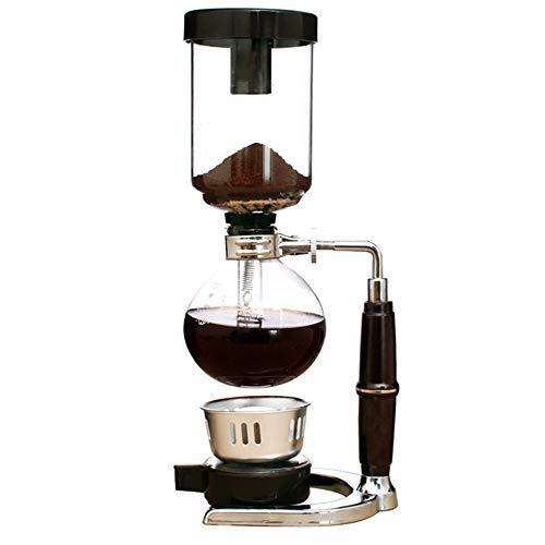Feixunfan Siphon Coffee Maker Home Manuelle Kaffeemaschine Siphon Pot Hand Made Siphon Coffee Maker Set 3/5 Tassen für Kaffee und Tee, glas, Schwarz , 3cups