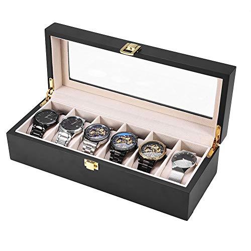 Soporte de reloj de madera 6 rejillas Soporte de reloj de pulsera duradero con material de pelusa suave para regalo de Navidad