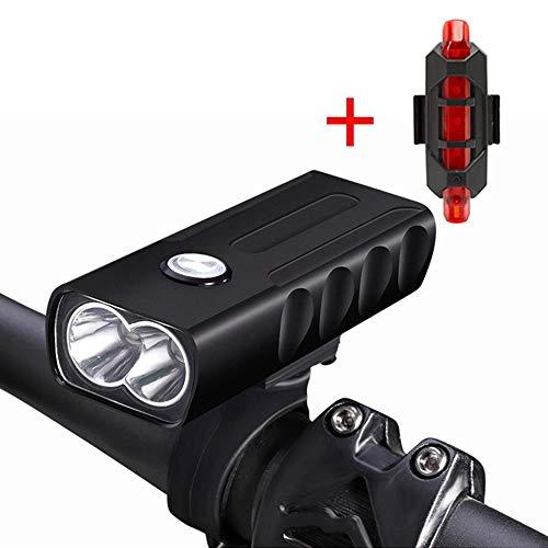 YEHOLDING Luci Bici, Luce Anteriore per Bici e Fanali Posteriori con Connettore USB, Facile da Installare per La Torcia di Sicurezza per Ciclismo, Include Luce Posteriore Ricaricabile Gratuita