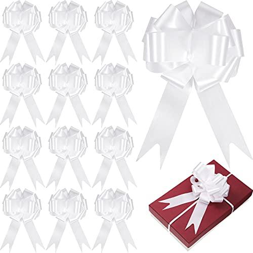 WILLBOND 36 Pièces Noeud à Tirer de Ruban de 6 Pouces Pullbows de Fleuriste de Mariage pour Décorations de Noël Mariage Fête Anniversaire Voiture Vacances Cadeau Sac Panier Bouteille (Blanc)