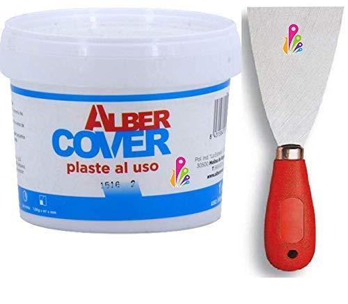 Masilla adhesiva pared (1kg) más espátula 5cm. Emplaste al uso profesional. Interior y exterior. Fácil aplicación. Gran poder de relleno, dureza y adherencia. 1kg