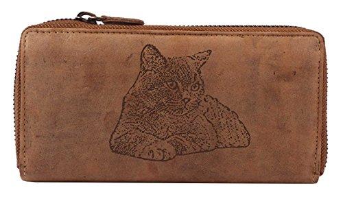 Greenburry Vintage Damen Leder Geldbörse 19x2,5x10cm Portemonnaie Geldbeute Motiv der Kritisch Kurzhaar Katzel