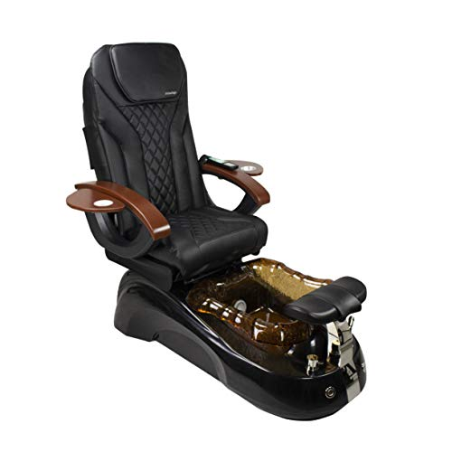 Siena Shiatsulogic Pedicure Chair Black/Gold w/Discharge Pump Stylish Pedicure Tub with Pipe-Less Whirlpool System Pedicure Spa, EX-16 Chair