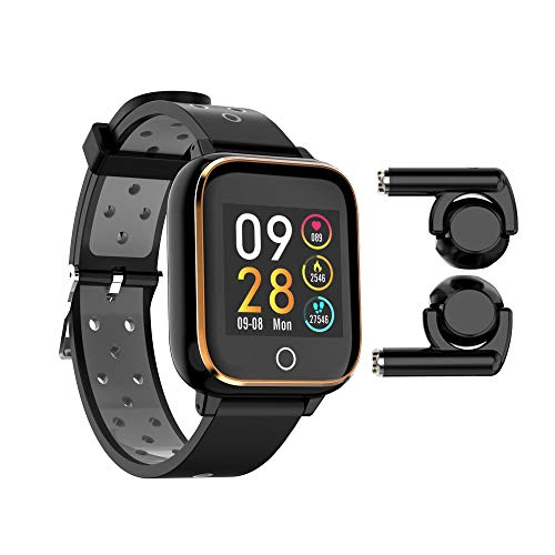 Sofobod M6 Smart Bracelet Watch with Dual BT 5.0 TWS Earbuds Earphone, Fitness Tracker with Headphone 2 in 1 Smart Wristband with MP3, HD Touch Screen, Blood Pressure, Heart Rate Monitor (Oro)