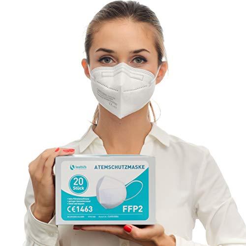 health2b FFP2 Maske CE Zertifiziert [20 Stück] CE1463 Atemschutzmaske Mundschutz, DERMATEST® sehr gut
