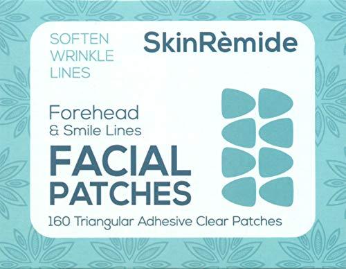Gesichtspflaster zum Glätten von Linien und Falten, SkinRemide Anti-Falten 160 transparente Klebepflaster. Dreieckige Formen für Stirnfalten und Smile Linien und Falten, stoppt die Stirnfrisur.