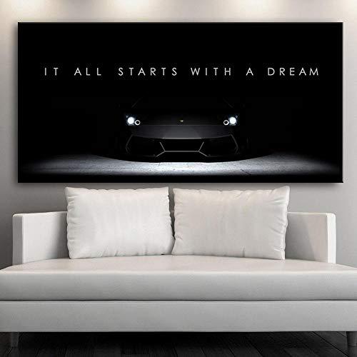 Leinwand Malerei Drucke Home Decoration Poster Modulare Bilder Wandkunst HD Inspirational Success Quote Motivational Nordic Artwork 50x110cm Kein Rahmen