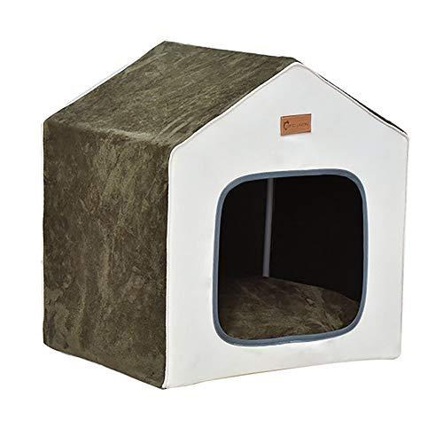 Tienda de Mascotas Cama del animal doméstico Carpa Perros Gatos animal doméstico del perro del gato de la casa del animal desmontables y lavables Cálido Grueso ( Color : Green , Size : 46x39x54cm )