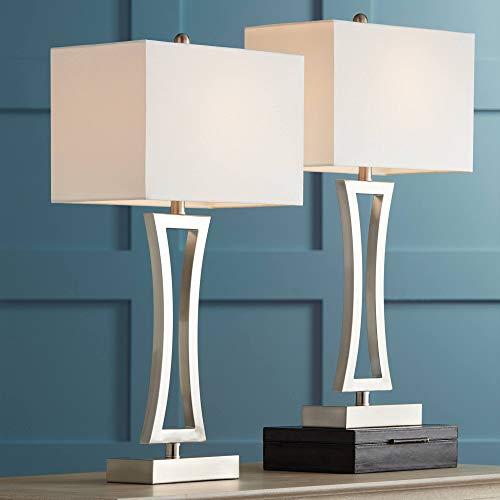 Roxie Modern Table Lamps Set of 2 Brushed Steel Off White Rectangular Shade for Living Room Family Bedroom Bedside Office - 360 Lighting