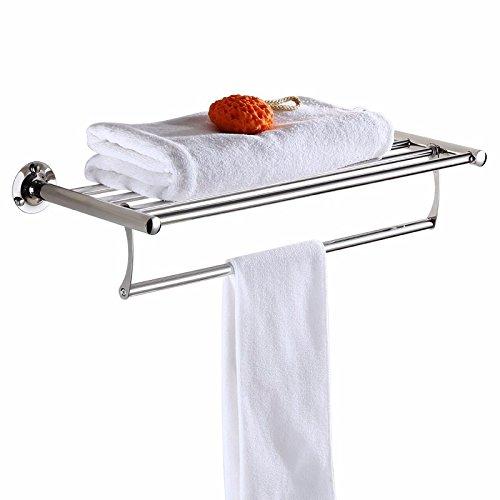 MBYW moderne minimalistische hoge dragende handdoek rek badkamer handdoekenrek Opbergplank Handdoekenrek, roestvrij staal, vouwen, plank, wandmontage, badkamer opbergplank, T21-60cm