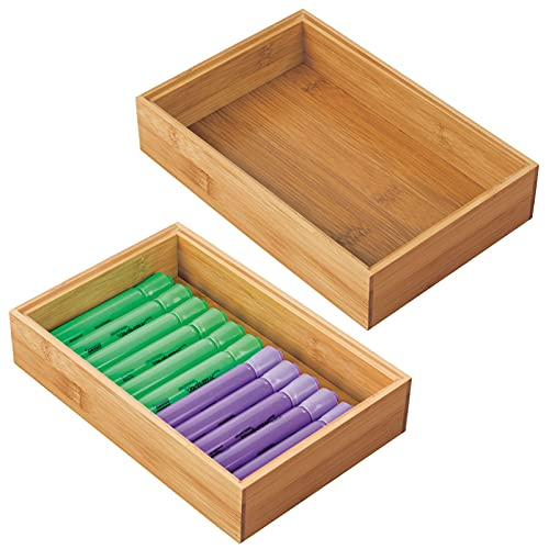 mDesign Bamboo Office Desk Cabinet Drawer Organizer Tray Bin - Multipurpose - Use in Drawers, on Desks, Shelves or in Pantry, 2 Pack - Natural Wood Finish