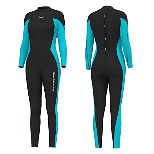 Hevto Wetsuits Men and Women 3mm Neoprene Full Scuba Diving Suits Surfing Swimming Long Sleeve Keep Warm Back Zip for Water Sports (A.G-Women Blue, XL)