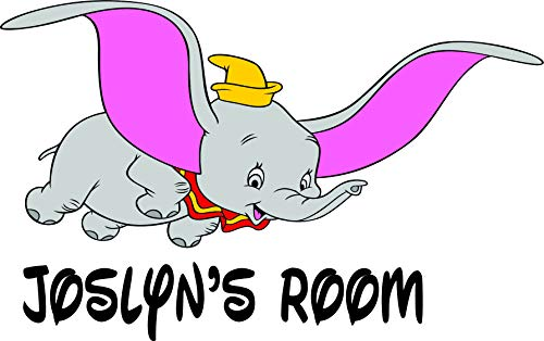Personalized Names Dumbo The Elephant Wall Decals / Disney Character Custom Name Stickers Sticker Decal For Kids Toddler Baby Nursery Rooms / Creative Art Decoration For Babies Walls Size 14x20 inch