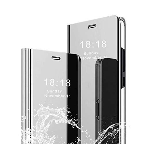 Wuzixi Hülle für Oppo Find X2 Neo. Smart Hülle, Tasche Smart Spiegelüberzug Sleep Flip Leder Tasche Smart Leder Tasche Schutzhülle für Oppo Find X2 Neo.Silber
