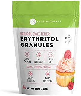 Erythritol Sweetener Granules by Kate Naturals. Perfect for Keto, Low Carb Diet, Baking, Coffee. Tastes Like Sugar, Zero Calorie. Non-GMO, Natural. Resealable Bag. 1 Year Guarantee (12 oz)