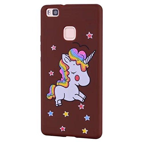 Huawei P8 Lite koffer. unicorn lederen cover wallet card slot functie en Sparkling Glitter Star patroon cover, 2# brown-02, Huawei P9 Lite