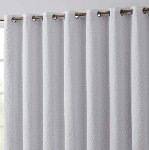 HLC.ME Siena 100% Complete Full Blackout Thermal Insulated Window Curtain Grommet Panel for Sliding Glass Patio Doors - Energy Efficient, Complete Darkness, Noise Reducing - (100