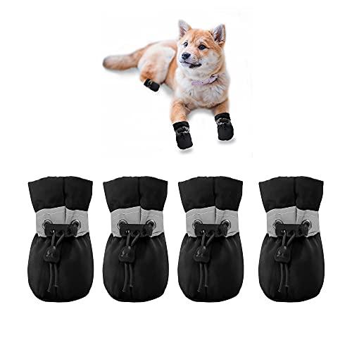 YAODHAOD Protector de Pata de Botas para Perros, Zapatos para Perros Antideslizantes, Estos Cómodos Zapatos Suave Tienen Correas Reflectantes, para Perros Pequeños (4, Negro)