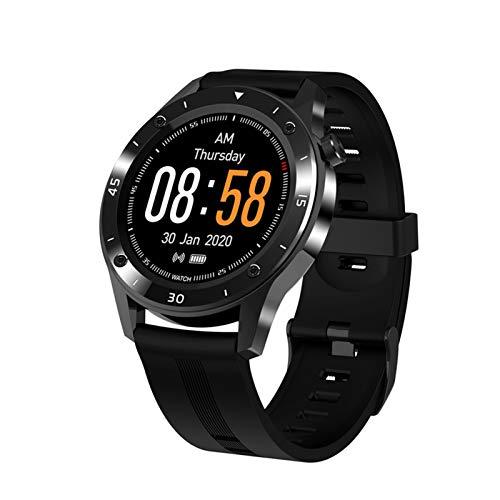 LYB Reloj inteligente con pantalla táctil completa, medidor de presión arterial con frecuencia cardíaca, información sobre llamadas y pasos, recordatorio de pulsera deportiva (color negro)