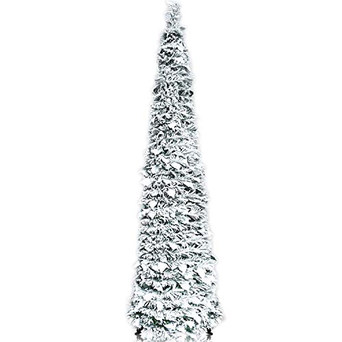 YuQi 5FT Pop Up Christmas Trees w/White Snow Flocked & Holly Leaf, Collapsible Tinsel Xmas Tree Easy-Assembly Reusable for Holiday Carnival Party Decorations