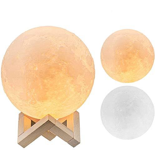 The perseids Lampe Lune 3D, 15CM Moonlight Veilleuse LED avec Interrupteur Tactile, USB Rechargeable, Lampe de nuit Pour Chambre décoration Cadeau Noël