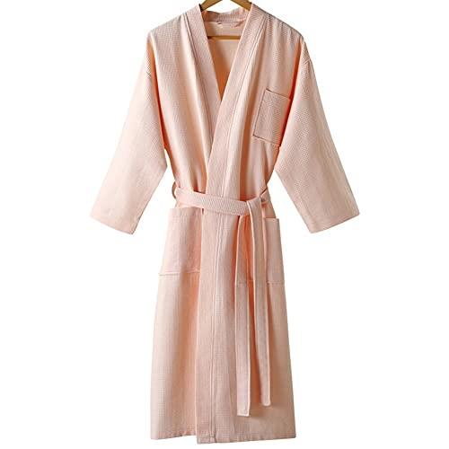 Mujeres Albornoz algodón verano kimono más tamaño largo toalla hombres delgado albornoz al baño (Color : Pink, Size : Large)