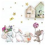 Little Deco Wandtattoo Babyzimmer Hasenfamilie und Maus I M - 121 x 84 cm (BxH) I Lolli Sterne Kinderbilder Deko Kinderzimmer Mädchen Aufkleber Sticker DL231