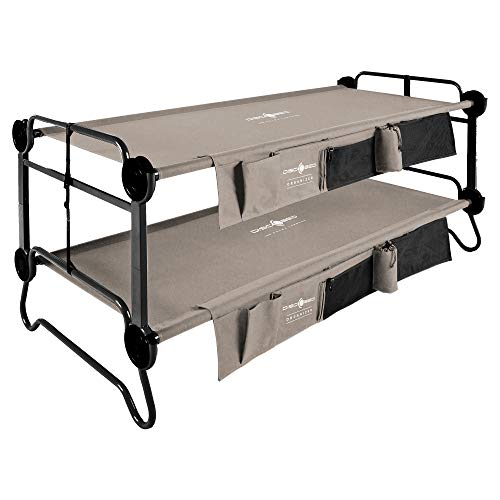 Disc-O-Bed XL Cam-O-Bunk 2 Person Bench Bunked Double Camping Bunk Bed Cot with 2 Side Organizers, Tan