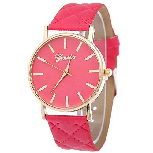 elistelle Unisex Casual piel sintética reloj de pulsera analógico de cuarzo Moda reloj 1pcs, rosa (b), As described