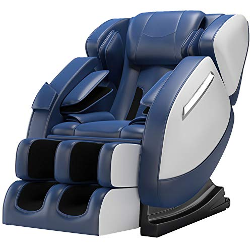 SMAGREHO 2020 New Massage Chair Recliner with Zero Gravity, Full Body Air Pressure, Bluetooth, Heat and Foot Roller Included, Blue