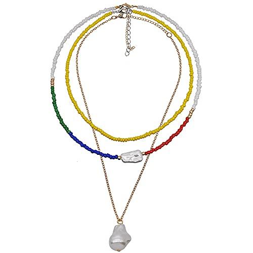 KONZFD collarBohemia Rainbow pequeño Collar de Perlas Femeninas combinación de múltiples Capas Perla Colgante Cuello Cadena en Capas Cadena de Cuentas de Color 2021