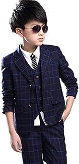 子供タキシード キッズ服 男の子ベビーブルースーツ衣装 ベスト、ズボン、ジャケット 3点セット 120CM~160CM