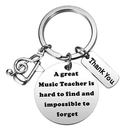 Ralukiia Music Teacher Appreciation Gift Retirement Gift for Music Teacher a Great Music Teacher is Hard to Find Keychain