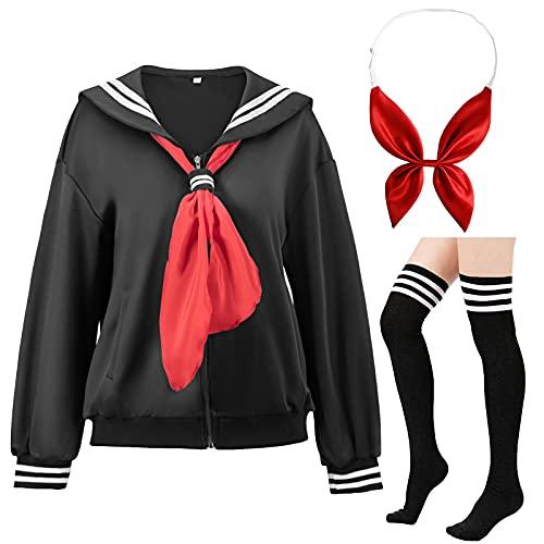 Classic Japanese School Girls Sailor JK Harajuku Jacket Uniform Anime Cosplay Costumes Socks Bow set Black 2XL