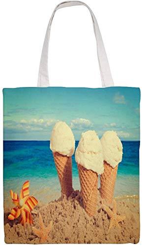 MODORSAN Starfish Beach Sea Ice Cream Sky Bolso de hombro Bolso de mano de lona, Bolsos de tela reutilizables para compras de comestibles, Bolsos de mano con impresión de doble cara