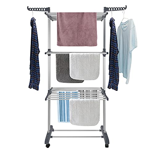 Bigzzia Clothes Drying Rack Folding Clothes Rail 3 Tier Clothes Horses Rack Stainless Steel Laundry Garment Dryer Stand with Two Side Wings Grey