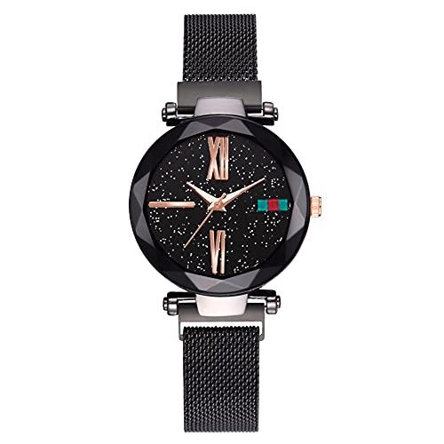 cloudbox Reloj de pulsera - Elegante reloj de pulsera de cuarzo con esfera redonda y correa de malla para hombres (Negro)