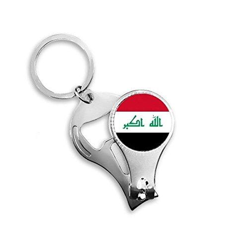 Irakese Nationale Vlag Azië Land Symbool Mark Patroon Metalen Sleutelhanger Ring Multifunctionele Nagel Clippers Fles Opener Auto Sleutelhanger Beste Charm Gift