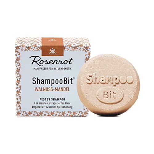 Rosenrot Naturkosmetik - ShampooBit® - festes Shampoo Walnuss-Mandel - 55g - Für braunes, strapaziertes Haar - Regeneriert und hemmt Splissbildung