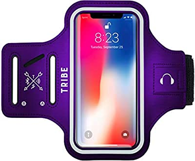 TRIBE Running Phone Holder Sports Armband. iPhone Cellphone Arm Band for Women & Men. Runners, Jogging, Exercise, Walking & Gym Workout. Cell Bands for iPhones, Galaxy & More! Fits Plus Phones Sizes!!