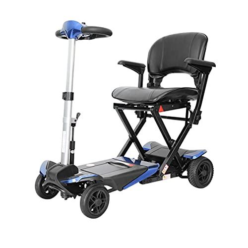 4 Ruedas Plegable Scooter Eléctrico Para Personas Mayores Minusvalido Silla de Ruedas eléctrica Ligero para discapacitados Patinete eléctrico Portátil Scooter movilidad para Viaje al aire libre