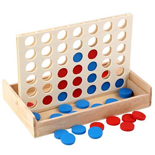 Gjyia 4 in een rij. Vier op een rij Houten Spel, Lijn Up 4, Klassiek Familie Speelgoed, Bordspel Voor Kinderen En Familie Plezier