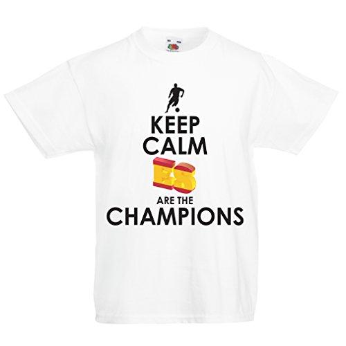 lepni.me Camiseta Niños/Niñas Españoles Son los campeones, Campeonato de Rusia 2018, Copa del Mundo - Equipo del fútbol de Camisa del admirador de España (1-2 Years Blanco Multicolor)